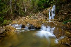 Wässern Sie die Jahreszeit des Falles im Frühjahr, die im tiefen Regenwalddschungel gelegen ist Stockbilder