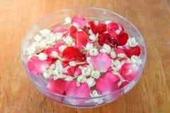 Wässern Sie mit Jasmin und Rosenkorolla in der Schüssel Stockbild