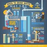 Wässern Sie pro Tag infographics, wann man Wasser trinkt Stockbild