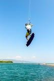 Wässern Sie Spaß und das Kiteboarding in Ada Bojana, Montenegro Lizenzfreies Stockbild