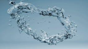 Wässern Sie Spritzen auf grauem Hintergrund, Illustration 3d Stockfoto