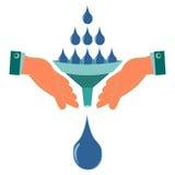 Wässern Sie Tropfen, den Regen, der in den Trichter in seinen Händen gegossen wird lizenzfreie abbildung