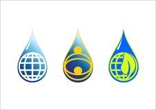 Wässern Sie Tropfen u. globalen Erdlogosymbolikonenvektor Lizenzfreie Stockfotos
