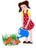 Wässernblumen des Mädchens Stockfotografie