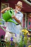 Wässernblumen im Garten lizenzfreie stockfotografie