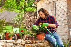 Wässernde eingemachte Blumen des jungen Mannes unter Verwendung der Schlauchleitung lizenzfreie stockfotos