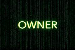 Właściciel, słowo kluczowe młyn, na zielonym matrycowym tle fotografia stock
