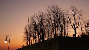 Włoch bergamo starego miasta Ognisty zmierzch wzdłuż antycznej Weneckiej ściany zbiory