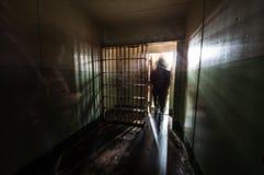 Wśrodku więzienie komórki w Alcatraz wyspy więzieniu w San Francisco zatoce obraz royalty free