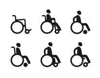 Wózek inwalidzki lub nieważny niepełnosprawny Ikona set koloru płomienia ustalonego symbolu wektor Obrazy Royalty Free