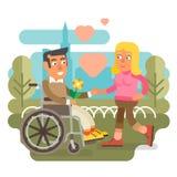 Wózek inwalidzki pary datowanie Fotografia Stock