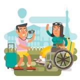 Wózek inwalidzki podróży para Zdjęcia Royalty Free