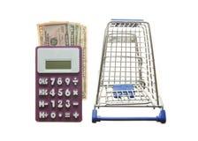 Wózek na zakupy amerykanina i kalkulatora dolary Obrazy Royalty Free