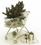 Wózek na zakupy folował z boże narodzenie piłkami z jedliny i prezenta pudełkami Zdjęcia Stock