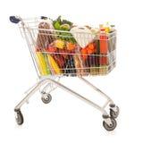 Wózek na zakupy folujący nabiału sklep spożywczy Zdjęcie Stock