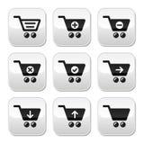 Wózek na zakupy guziki ustawiający ilustracji