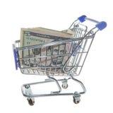 Wózek na zakupy i dolary odizolowywający na bielu Obrazy Stock