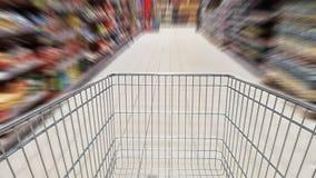 Wózek na zakupy i ruchu plama Zdjęcia Stock
