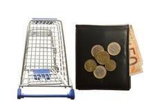 Wózek na zakupy i skóry portfel z Euro notatkami Obrazy Stock