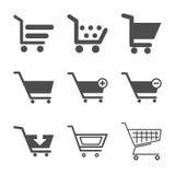Wózek na zakupy ikony ustawiać Obraz Stock