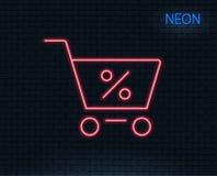 Wózek na zakupy kreskowa ikona Online kupienie znak ilustracja wektor