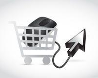 Wózek na zakupy kursoru i myszy ilustracja Zdjęcie Royalty Free