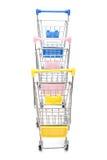 Wózek na zakupy na bielu Fotografia Royalty Free