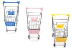 Wózek na zakupy na bielu Obraz Stock