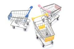 Wózek na zakupy na bielu Zdjęcie Stock
