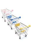 Wózek na zakupy na bielu Zdjęcie Royalty Free