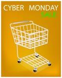 Wózek Na Zakupy na Cyber Poniedziałku sprzedaży promoci Obraz Royalty Free
