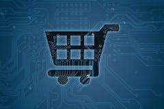 Wózek na zakupy na cyfrowym tle royalty ilustracja