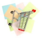 Wózek na zakupy na majcherach, odgórny widok Obrazy Stock