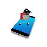 Wózek na zakupy na smartphone, telefon komórkowy ilustracja Zdjęcie Stock