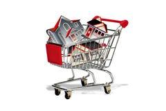 Wózek na zakupy pełno domy royalty ilustracja