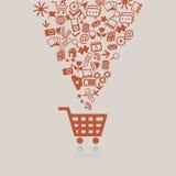 Wózek na zakupy pojęcie ilustracji