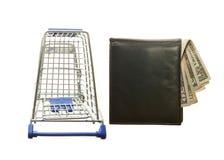Wózek na zakupy, portfla i amerykanina dolary Zdjęcia Stock
