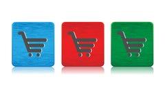 Wózek na zakupy sieci guziki Zdjęcia Stock