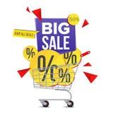 Wózek Na Zakupy sprzedaży plakata wektor button ręce s push odizolowana początku ilustracyjna kobieta Zdjęcie Royalty Free