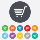 Wózek Na Zakupy szyldowa ikona. Online kupienie guzik. Zdjęcie Royalty Free