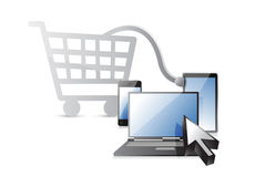 Wózek na zakupy technologii elektroniczny pojęcie ilustracji