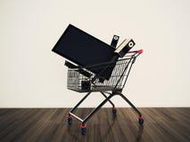 Wózek na zakupy TV Obraz Stock