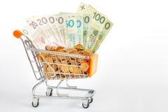 Wózek na zakupy wypełniający z połysku złoty rachunkami i grosik monetami Zdjęcie Stock