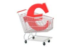 Wózek na zakupy z euro symbolem, 3D rendering Obrazy Stock