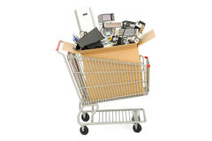 Wózek na zakupy z gospodarstwem domowym i kuchennymi urządzeniami, 3D renderin Zdjęcia Stock