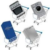 Wózek na zakupy z urządzeniami Zdjęcie Stock