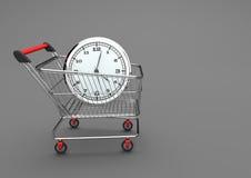 Wózek Na Zakupy Z zegarkiem royalty ilustracja
