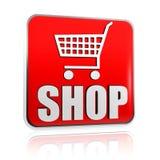 Wózek na zakupy znak z słowa sklepu sztandarem Obrazy Royalty Free