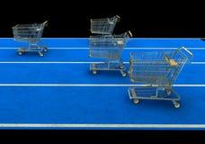 wózek sklepu spożywczego wyścig Zdjęcia Stock
