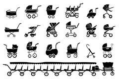 Wózek spacerowy sylwetki ilustracja wektor